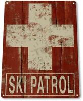 Ski Patrol Lift Resort Lodge Cabin Vintage Rustic Skiing Tin Metal Sign
