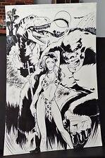 A BEAUTIFUL CAVEWOMAN A T-REX & HUGE APE SPLASH PAGE 1990'S ORIGINAL ART-PATTON Comic Art