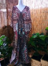 Plus Size Animal Print Sheer Embellished Kaftan Size 16-18-20-22-24-26 OSFA