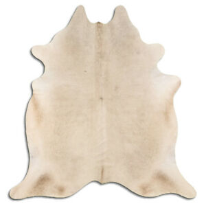 Real Cowhide Rug Champagne Size 6 by 7 ft, Top Quality, Large Size