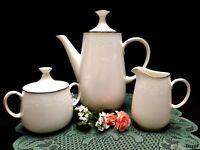 1960's Noritake Ambrosia 7567 Ivory China Tall Teapot Creamer & Sugar - Pristine