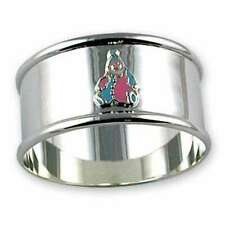 More details for 925 sterling silver enamelled clown napkin ring