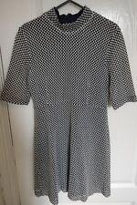 ZARA Ladies Women Knitted Dress Black/White with Navy lining Size M