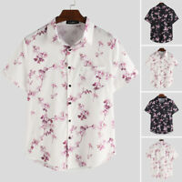 Men's Short Sleeve Floral Beach Party Tops Tee Casual Loose Shirts Blouse Tops