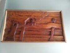 Vintage Primitive Folk Art Carved wood panel picture  Church Rural scene Framed.