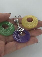 "Genuine Interchangeable 3 Carved Jade Discs & White Topaz Silver Pendant 20 + 2"""