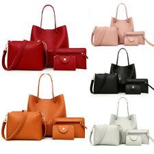 4Pcs Women Pattern Leather Handbag+Crossbody Bag+Messenger Bag+Card Package