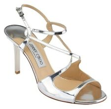 JIMMY CHOO PAXTON SILVER MIRRORED SANDALS SIZE 8 (41)