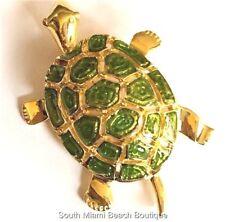 Gold Green Enamel Sea Turtle Pin Brooch Plated Turtles Sea Life Island Beach Usa