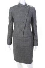 Ralph Lauren Purple Label Womens Wool Plaid Print Skirt Suit Black Size 4