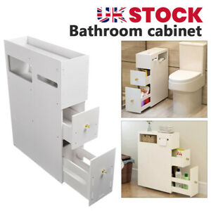 Bathroom Toilet Slim Floor Cabinet Narrow Storage Cupboard with Drawers