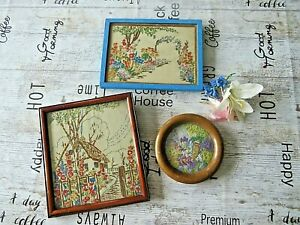 VINTAGE HAND EMBROIDERED PICTURES FRAMED X 3. LOVELY EMBROIDERY