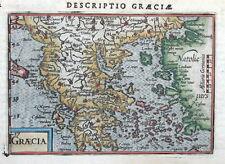 GREECE, BERTIUS Original Miniature Hand Coloured Antique Map 1606