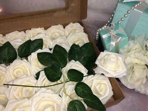 Artificial Flower Ivory Roses 25pcs Real Looking Fake Rose W/Stem Wedding Bridal