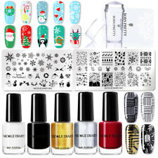 9Pcs/Set NICOLE DIARY Christmas Nail Stamping Plates Black Nail Art Stamp Polish