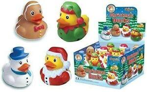 Set Of 4 Mini Christmas Rubber Ducks