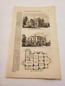 Country House Plans Irregular Country House & Picturesque Mansion 1855 Engraving