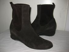 Unbranded Suede Chocolate Ankle Wedge Boots Shoes Women's Size 40 / 9.5