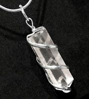 Quartz Crystal Silver Wire Wrap Pendant Spiral Point Necklace Handmade CHARGED