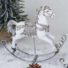 weihnachts Dekofigur Schaukelpferd L. 27cm weiß silber Formano W20