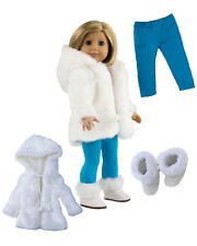 """MangoPeaches 18"""" DOLL CLOTHES-WINTER COAT outfit 3pc DELUXE set-Fits AGirl Dolls"""