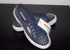 SUPERGA MS SIZE 5 NAVY BLUE WITH SILVER TONE STUDS FASHION CANVAS SHOES