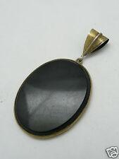 pendentif médaillon design vintage 60's argent massif vermeil onyx ou verre noir