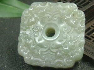 Antique Chinese Nephrite Celadon Hetian OLD Jade YUNHAI Statue QING Dy.