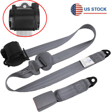 Gray Retractable 3 Point Safety Seat Belt Straps Car Adjustable Belt Buckle Kit Fits Toyota
