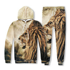 Men Women Hoodie 3D Print Sweatshirt African Lion Pullover Tracksuits And Pants
