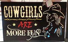 Cowgirls are more fun metal sign  Window hanging by Red Shed