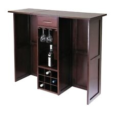 Wine Bar Cabinet Storage Wood Furniture Rack Home Pub Liquor Expandable Counter