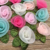 20PC Organza Ribbon Flowers Bows Rose W/ Green Leaf Appliques Craft Mix E325