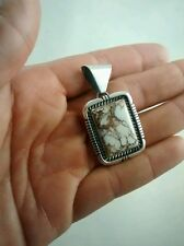white stone sterling pendant Nice Native American C.Wylie