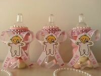 12 Pink Fillable Bottles Baby Shower It's a Girl Favors Prizes Game Decorations