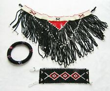 Bracelet Black White Red Seed Beads Vintage Costume Bib Necklace Bangle & Cuff