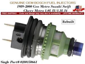 1 Fuel Injector OEM BOSCH 1989-2000 Geo Metro Suzuki Swift Chevy Metro 1.0L 1.3L