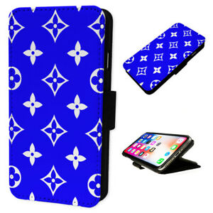 Cool Blue Pattern - Flip Phone Case Wallet Cover - Fits Iphones & Samsung