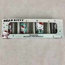 Hello Kitty Set Of 4 Glassware Christmas Holiday Shot Glass Set New in Box