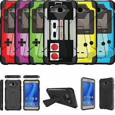 For Samsung Galaxy J7 (2015) Shockproof Kickstand Bumper Case - Retro