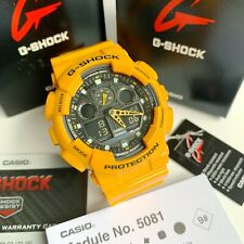Casio G-Shock * GA100A-9A Bumblebee Yellow Resin Watch for Men Ivanandsophia