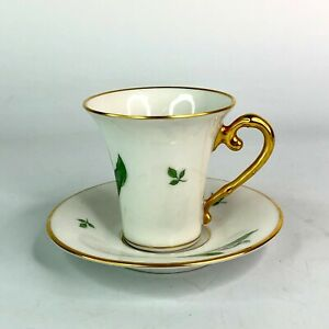 Wahliss Wien Austrian Hand Painted Lily of the Valley Demitasse Cup & Saucer Set