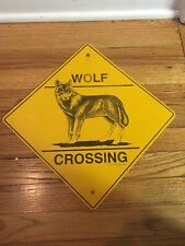 Wolf Metal Crossing Sign Diamond shape