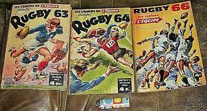 3 ANCIENS CAHIERS DE L EQUIPE RUGBY 1963/64/66 N 16/20/26 DESSIN PAUL ORDNER BE