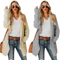 Womens Ladies Loose Long Sleeve Knitted Cardigan Coat Jacket Winter Warm Outfit