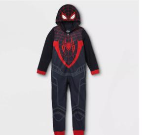 Marvel Spiderman Miles Morales One Piece Fleece Pajamas - Boys Size Small 6/7