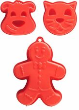 Set Of 3 Mason Cash Large Red Silicone Cake Moulds Gingerbread Man Cat Dog
