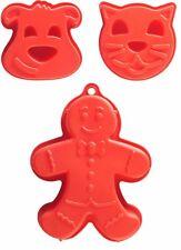 Set Of 3 Mason Cash Large Red Silicone Cake Moulds Gingerbread Man Cat Dog