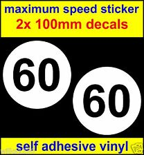 2x maximum speed sticker limited to 60 decals car bus van lorry 100mm each