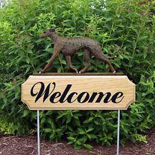 Greyhound Oak Wood Welcome Outdoor Yard Sign Brindle